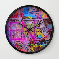 grafitti Wall Clocks featuring Bright Grafitti by davehare