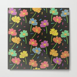 Dark Florals- Multi Coloured Metal Print