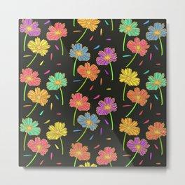 Dark Florals- Multi Coloured Metal Print