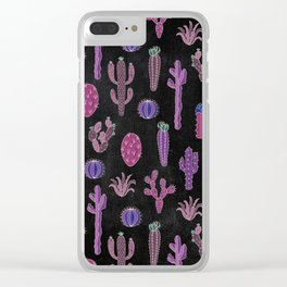 Cactus Pattern On Chalkboard Clear iPhone Case