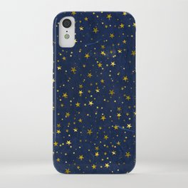 Golden Stars on Blue Background iPhone Case