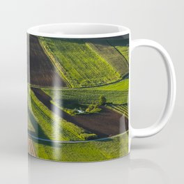 Green and brown fields before the sunset Coffee Mug