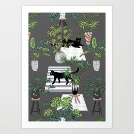 cats in the interior dark pattern Art Print