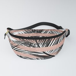 Trendy tropical palm trees chic rose gold stripes Fanny Pack