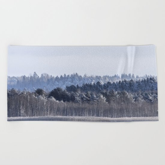 Blue shades in cold winter morning Beach Towel