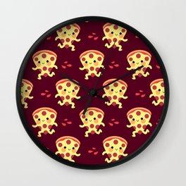Cute running pizza slice Wall Clock