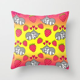 Cute funny sweet adorable sleeping baby raccoons, little pink hearts and red ripe summer strawberries cartoon bright sunny pastel yellow and pink pattern design Throw Pillow