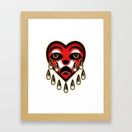 American traditional tattoo style heart. Framed Art Print
