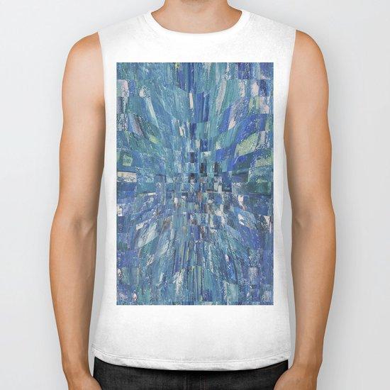 Abstract blue pattern 5 Biker Tank