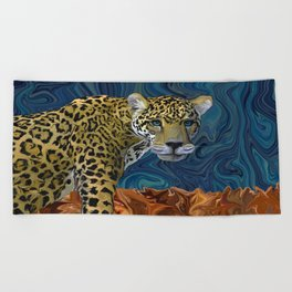 Leopard with the Sky in His Eyes Beach Towel