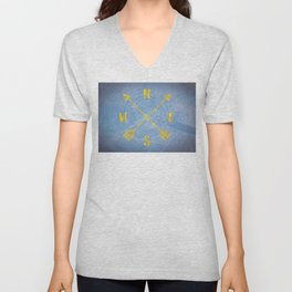 Compass Tree Gold on Blue Unisex V-Neck