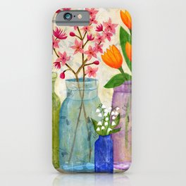 Springs Flowers in Old Jars iPhone Case