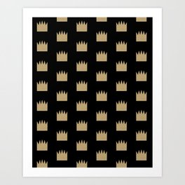 Gold Crowns - Modern pattern design featuring gold glitter crown elements Art Print
