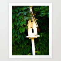 verse Art Prints featuring Birdhouse Verse by 3 Chics Couture
