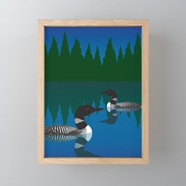 Loons in a Woodland Lake Framed Mini Art Print