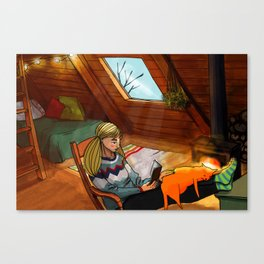 January in cabin Canvas Print