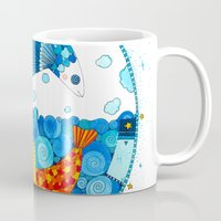 pisces Mugs featuring Pisces by Sandra Nascimento