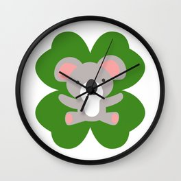 Koala On 4 Leaf Clover- St. Patricks Day Animal Wall Clock
