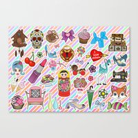 stickers Canvas Prints featuring I Love Stickers by Jade Boylan