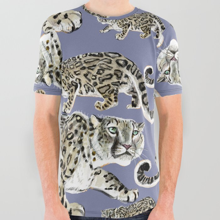 Snow leopard in purple All Over Graphic Tee
