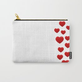 postcard with red hearts on white background pattern Carry-All Pouch