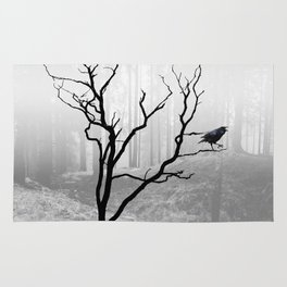 Black Crow in Foggy Forest A118 Rug