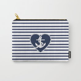 Modern navy blue white heart anchor nautical stripes Carry-All Pouch