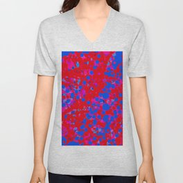 blue on red, circles Unisex V-Neck