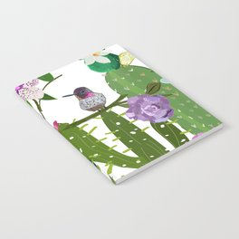 Cactus, succulents and humming bird. Tropical pattern Notebook