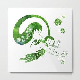 Green Mermaid Metal Print