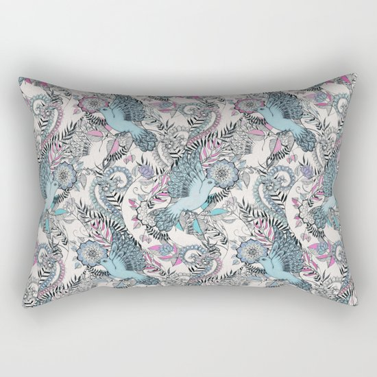 Flight of Fancy - pink, teal, cream Rectangular Pillow