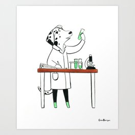 Dalmatian Biologist (Dogs with Jobs series) Art Print