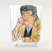 vonnegut Shower Curtains featuring Vonnegut by McHank