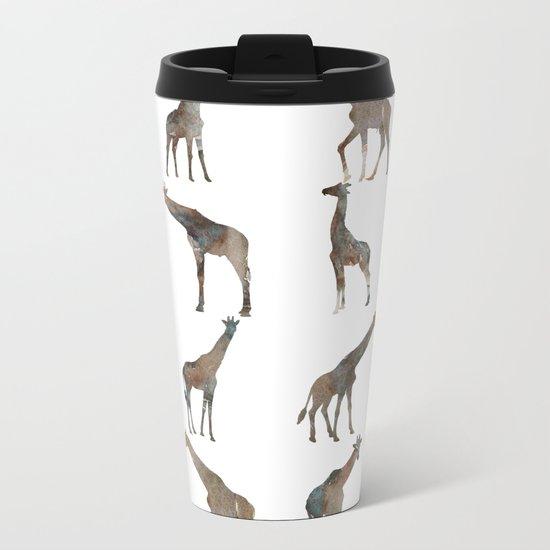 Giraffes Pattern Metal Travel Mug