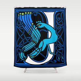 Celtic Peacocks Letter J Shower Curtain