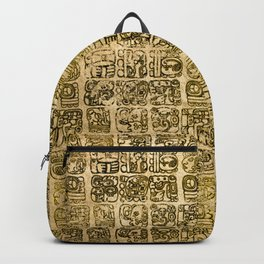 Mayan and aztec glyphs gold on vintage texture Backpack