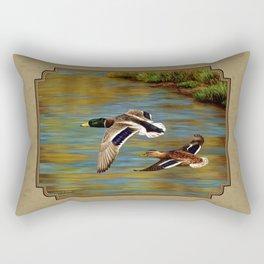 Mallard Ducks in Flight Rectangular Pillow