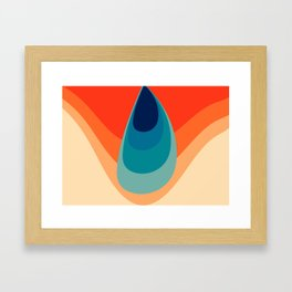 Retro 80s 70s Blue and Orange Mid-Century Minimalist Abstract Art Water Drop Framed Art Print