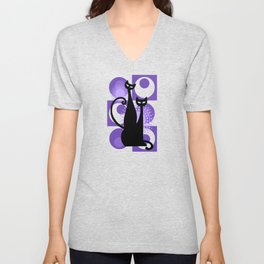 Purple Paradise Atomic Age Black Kitschy Cats Unisex V-Neck