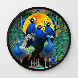 STATELY BLUE PEACOCKS FLOCK Wall Clock