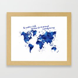 The world is a book, world map in shades of blue watercolor Framed Art Print