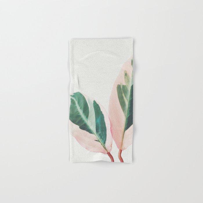 Pink Leaves I Hand & Bath Towel