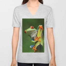 Curious Red-Eyed Tree Frog Unisex V-Neck