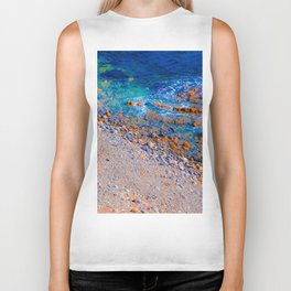 blue water at the ocean with rock and stone in summer Biker Tank