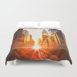 NYC Skyline Sunset Duvet Cover
