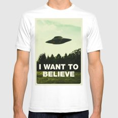 UFO, I Want To Believe Mens Fitted Tee MEDIUM White