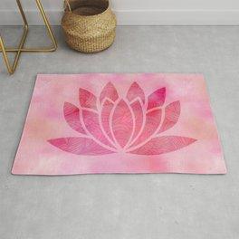 Zen Watercolor Lotus Flower Yoga Symbol Rug
