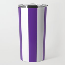 Purple Heart - solid color - white vertical lines pattern Travel Mug