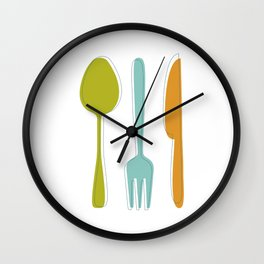 Colorful Kitchen Utensils Mid Century Modern  Wall Clock