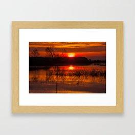 Sundown over Biebrza river in Poland Framed Art Print
